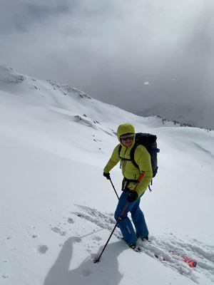 Tim in a Taycan Skiing Week 5